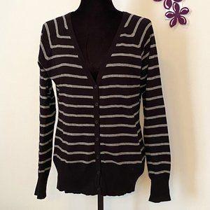 Striped Black and Grey Cardigan Sweater sz Medium